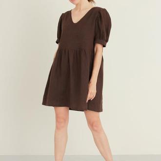 Льняное мини платье бейбидолл, Льняное платье с пышными рукавами