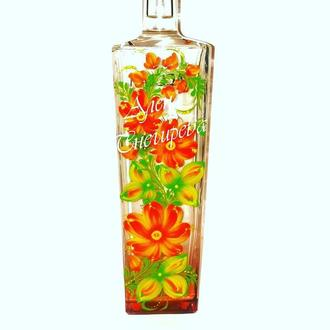 Петриковская роспись на бутылках