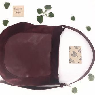 "Женская кожаная сумка хобо ""Базилик"" (бордо)"