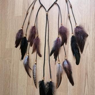 Повязка с перьями на голову для волос, повязка бохо.