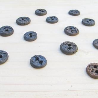 Керамічні гудзики димлені 15 мм