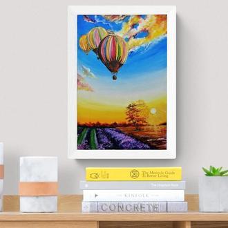 Картина маслом лавандовое поле, Картина с лавандой, Воздушный шар живопись, Авторская живопись
