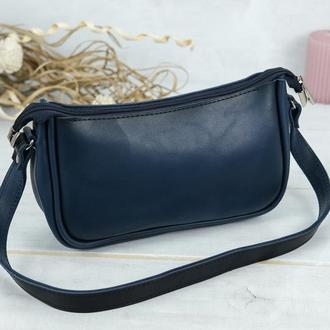 Кожаная женская сумочка Джулс, кожа итальянский краст, цвет синий