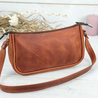 Кожаная женская сумочка Джулс, винтажная кожа, цвет коньяк