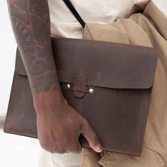 Чехол для MacBook из натуральной кожи с винтажным эффектом коричневого цв