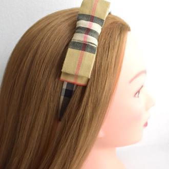 Элитный обруч-бант для волос BURBERRY (оригинал), коттон, ручная работа