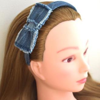 Элитный обруч-бант для волос, джинсовый, тренд 2021, ручная работа