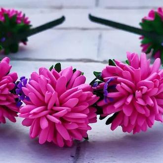 Обруч з малиновими квіточками