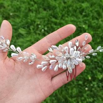 Свадебный гребень для невесты, свадебное украшение, свадебная веточка для волос