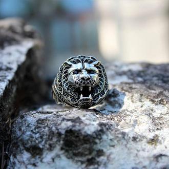 Перстень лев из серебра печатка кольцо серебряное уникальный авторский дизайн