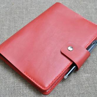 Обложка для блокнота формат А5 из натуральной кожи красного цвета B06-580