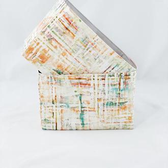Готовое изделие Корзина из ткани, интерьерная корзина с линиями. Декор в детскую.