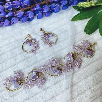 Свадебный комплект веточка в прическу и серьги для невесты