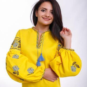 Женское вышитое платье «Ружа желтая»