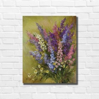 """Картина маслом """"Садовые цветы"""" 50х40 см, холст на подрамнике, масло"""