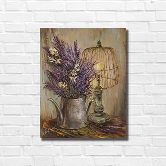 Картина маслом ′Букетик лаванды′ 45×35 см, холст на подрамнике, масло