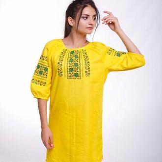 Вышитое платье для женщины «Розалія желтая»
