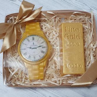 Набор мыла  мужской Часы и слиток золота.