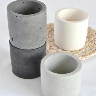Горщик з бетону у формі циліндра 8*8 см, кашпо з бетону.