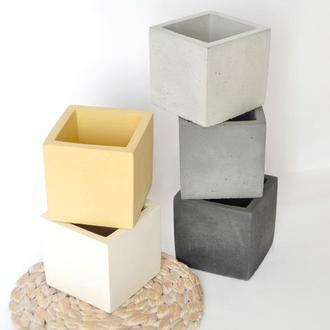"Горщик з бетону ""Куб 8*8 "", кашпо з бетону."
