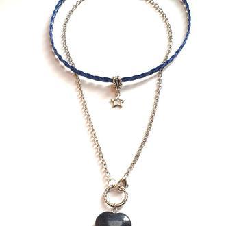 Набор из 2 украшений на шею: плетеный чокер экокожа и подвеска из камня авантюрина на цепочке