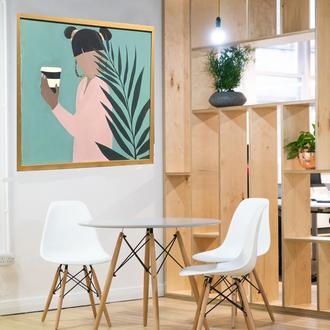 """Интерьерная картина """"Девушка с кофе"""", акрил, 60х60"""