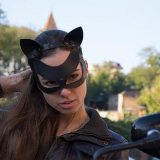 Маска кожаная, маска кошки, маска на хэллоуин из кожи