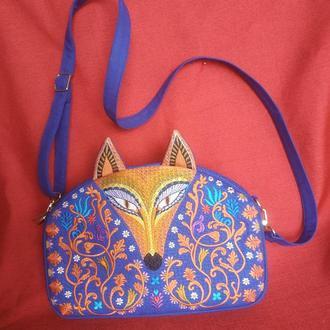 Вышитая сумочка синего цвета Оранжевая Лиса