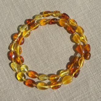 Изящные яркие янтарные бусы, натуральный цельный янтарь