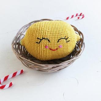 Улыбчивый лимон, мягкая игрушка крючком,амигуруми, декор детской