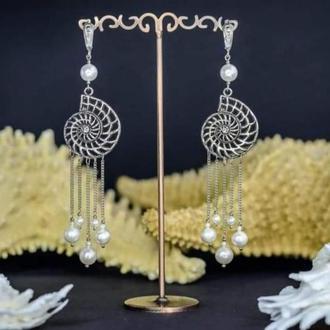 """Дизайнерские серьги подвесочки (жемчуг, майорика в серебре) """"Ammonite""""🐚🌊"""