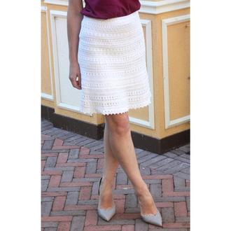 Белая ажурная летняя юбка вязаная из хлопка, кружевная юбка для девушки