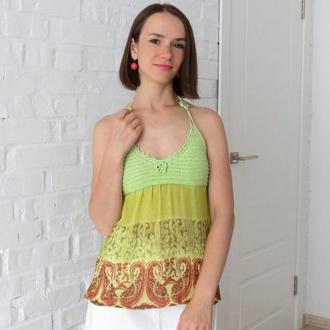 Летний топ из шифона с вязаным лифом, салатовая пляжная майка для девушки