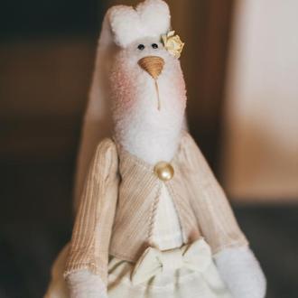 Заяц зайка кролик тильда ручной работы авторская текстильная игрушка