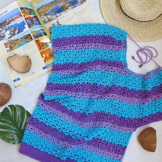 Пляжная туника бирюзовая ажурная, вязаная летняя блуза хлопок футболка для девушки женщины