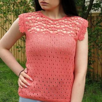 Коралловая блуза летняя из бамбука, вязаный топ ажурный с кружевом, футболка для девушки женщины