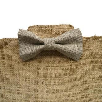 Классический галстук-бабочка из натурального льна - Галстук-бабочка для жениха в деревенском стиле.