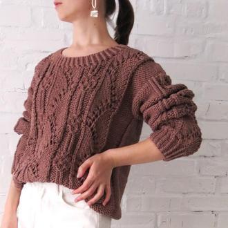 Осенний женский свитер, вязаный джемпер шоколадного цвета