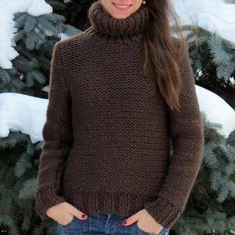 Теплый свитер с высоким воротником стойкой Свитер крупной вязки из шерсти альпака