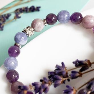 Лаванда Оттенки лаванды Лавандовый браслет Стильный браслет подарок девушке (модель № 702) JKjewelry