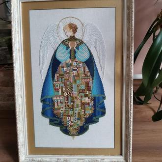 Ангел Любви на белом габардине Схема для вышивки бисером, нитками Angel of Love