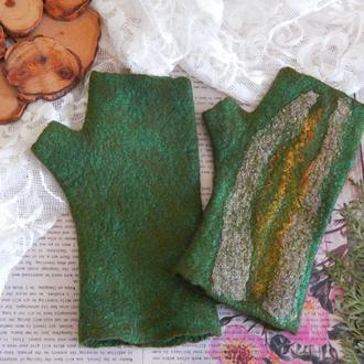 Мітенки рукавиці валяні із шерсті стильні рукавиці
