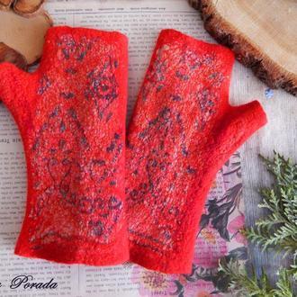 Митенки рукавиці валяні із шерсті  червоні мітенки