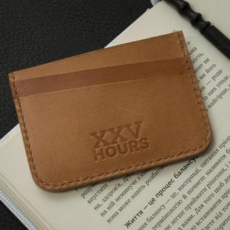 Кожаный кошелёк картхолдер (Виски)