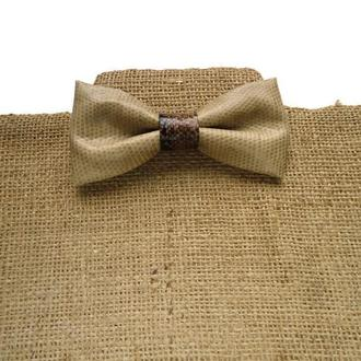 Бежевый галстук-бабочка из искусственной кожи с принтом питона. Faux leather bow tie