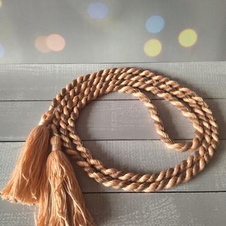 Веревочный плетеный пояс