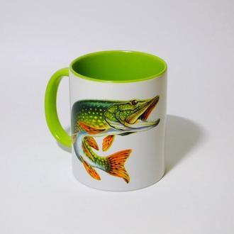 Чашка с принтом сублимация. Подарок рыболову.