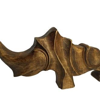 Скульптура носорога з дерева, сучасна абстрактна статуетка, оригінальний подарунок з дерева