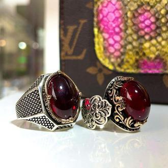 Комплект набор из двух серебряных колец мужское и женское ручной работы