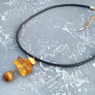 Колье-чоккер с натуральным янтарем в позолоте